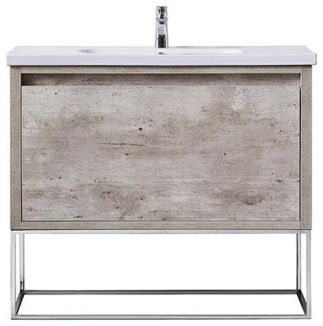 "Ove Decors Ava 40"" Burnt Oak Vanity With Integrated Porcelain Sink."