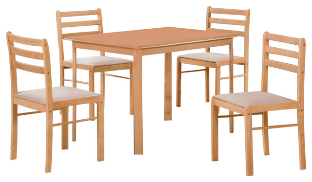 HODEDAH IMPORT Table and 4 Chairs Dinning Set Beech