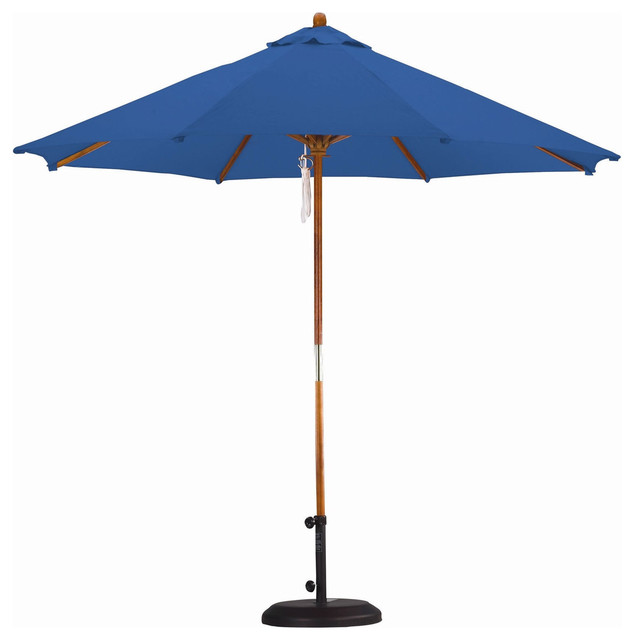 Pulley Patio Umbrella With Pacific Blue Canopy, 9&x27;