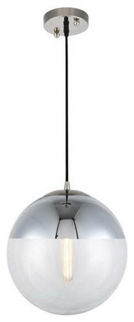 "Beckett 12"" 1-Light Adjustable Pendant, Polished Nickel, Clear Glass."