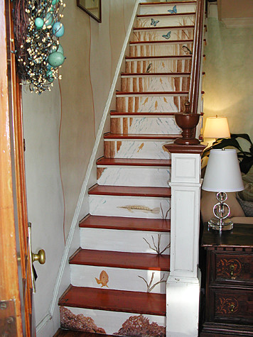 Removable and Reusable Woodland Stream Stair Mural