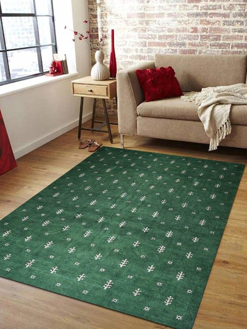 Rugsotic Carpets Hand Knotted Gabbeh Silk Area Rug Contemporary Dark Green Southwestern Area Rugs By Get My Rugs Llc