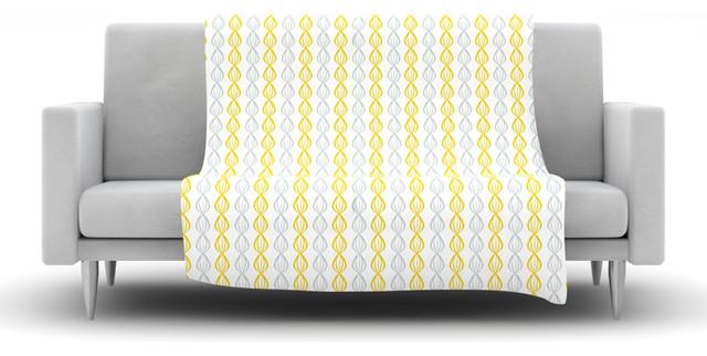 julie hamilton lemon pod yellow gray fleece blanket contemporary