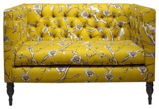 Skyline Furniture Tufted Vintage Style Blossom Settee