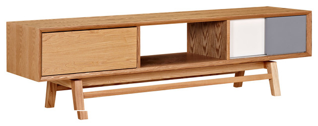 Mid Century Modern Tv Stand, Wood And Color, Floyd Media Cabinet, Light Ash