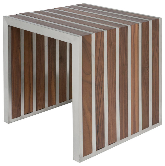 Holden Stainless Steel Walnut Wood Slatted Modern Side Table