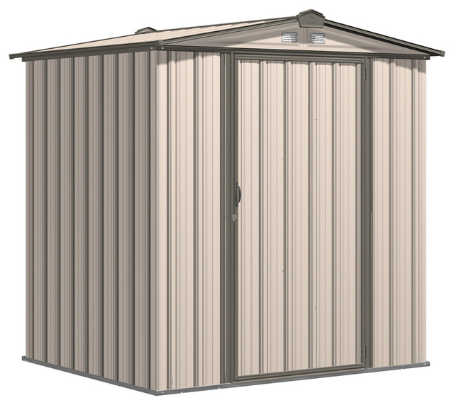 Ezee Shed, 6&x27;x5&x27;, Low Gable, 65 Walls, Vents, Cream And Charcoal.