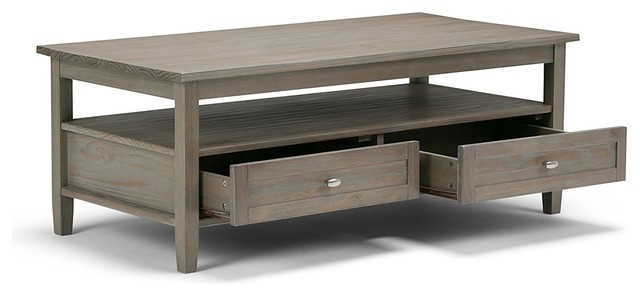 Distressed Gray Coffee Table With Drawers