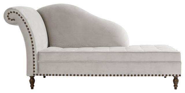 Medici Button-Tufted Chaise Lounge, Bone, Chrome Tacks