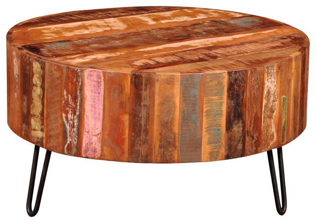 Beau VidaXL Cocktail Coffee Table Antique Round Solid Reclaimed Wood Furniture