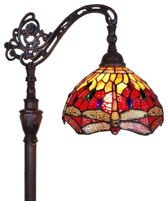 Amora Lighting Tiffany Style Dragonfly Reading Floor Lamp 62 In.