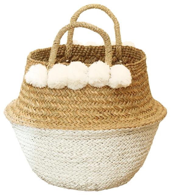 White Pom Poms Double Woven Sea Gr Belly Basket Panier Nursery
