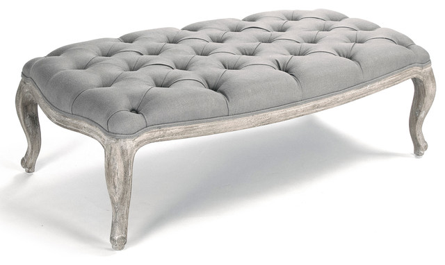 French Country On Tufted Ottoman Gray Linen
