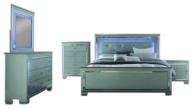Homelegance Allura 4 Piece Panel Bedroom Set With Led Lighting Silver