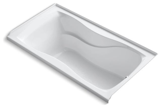 "Hourglass Alcove Bath Tub, Integral Flange, Right-Hand Drain, 60""x32"", White."