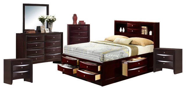 Madison King Storage 6Piece Set Contemporary Bedroom