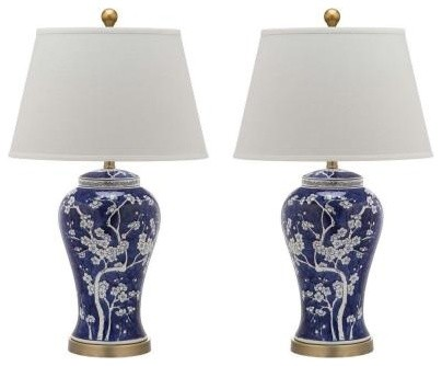 Spring Blossom Table Lamps, Set Of 2, Blue.