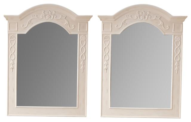 Naples 3 Mirrors White Set Of 2 Traditional Bathroom