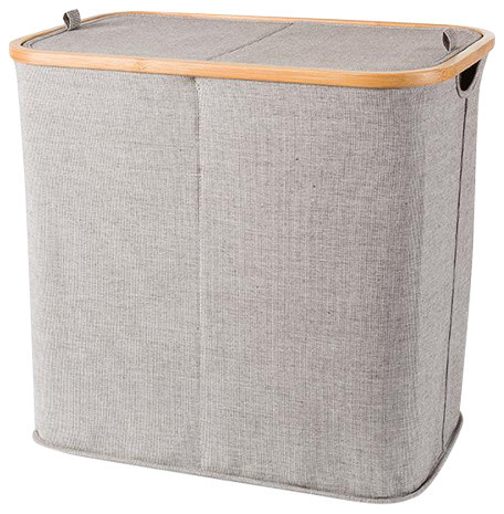 Mv Bamboo With Canvas Gray Double Hamper Split Laundry Basket With Lid.