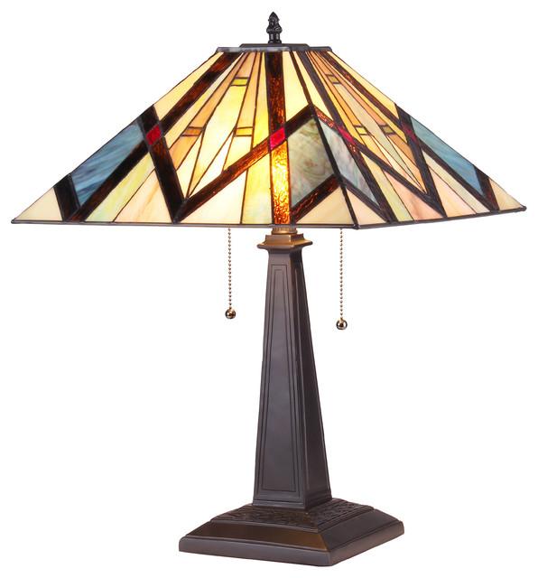 Chloe Lighting Bedivere 2 Light Mission Table Lamp.