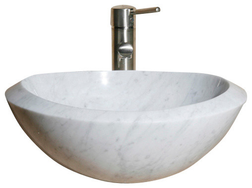 V-Vo18b Carrara White Polished Vessel Sink.