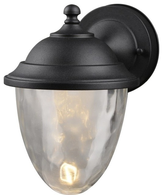 800ef8a0e72f 10W 1 LED Outdoor Wall Lantern, Textured Black, Clear Bubble Water -  Traditional - Outdoor Lighting - by 1STOPlighting