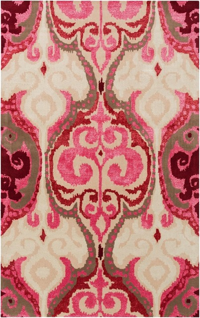 Banshee Area Rug, Rectangle, Hot Pink, 5&x27;x8&x27;.