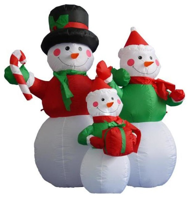 Inflatable Lighted Snowman Family Yard Art, 4u0027 Contemporary Outdoor Holiday  Decorations