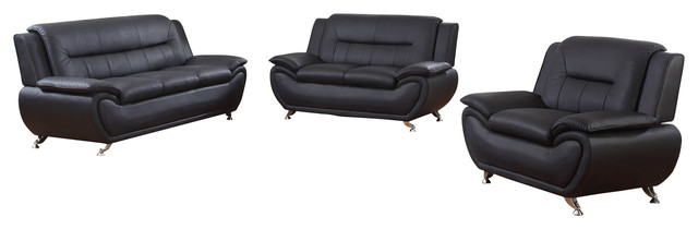 3 Piece Faux Leather Contemporary Living Room Sofa, Love Seat, Chair Set, Black.
