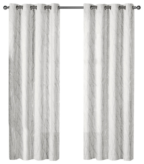 "Woodland Metallic Sheer Grommet Top Curtains, 54""x84"", Winter Silver, Set Of 2."