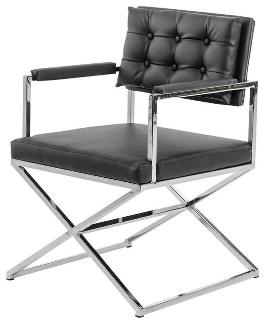 Modrest Modern Leatherette Dining Armchair, Black.