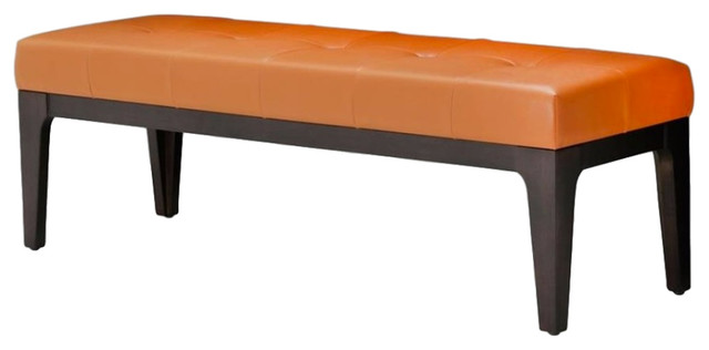 Aico Amini 21 Cosmopolitan Leather Non-Storage Bed Bench In Orange.