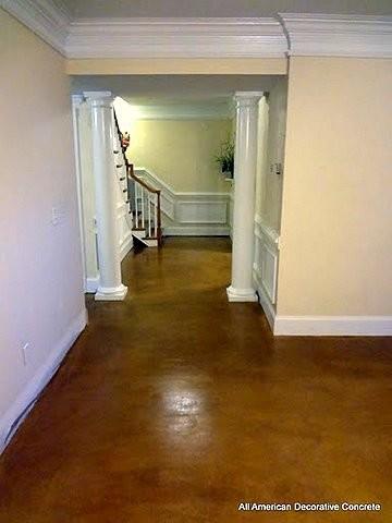 Custom stained concrete floors modern basement for Modern concrete floor