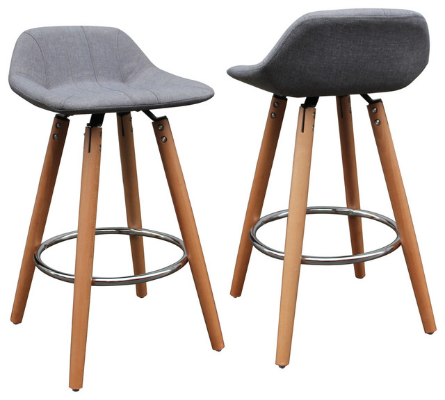 Hawkin Upholstered Counter Stools Set Of 2 Wood And Gray