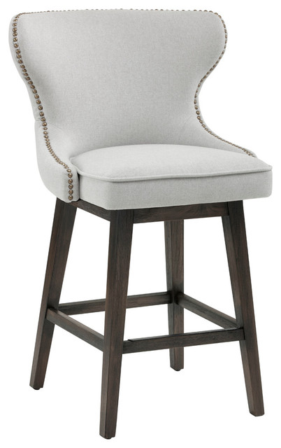 Ariana Swivel Counter Stool, Light Gray