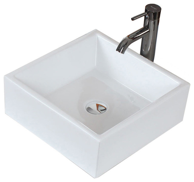 Above Counter Square Vessel For Deck Mount Faucet, 15, White.