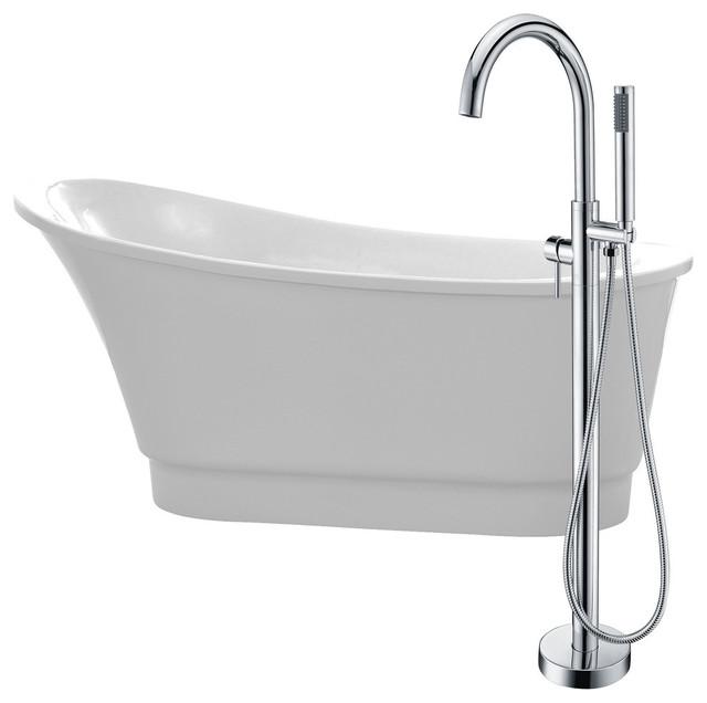 "Prima 67"" Acrylic Flatbottom Bathtub, Kros Faucet, Polished Chrome."