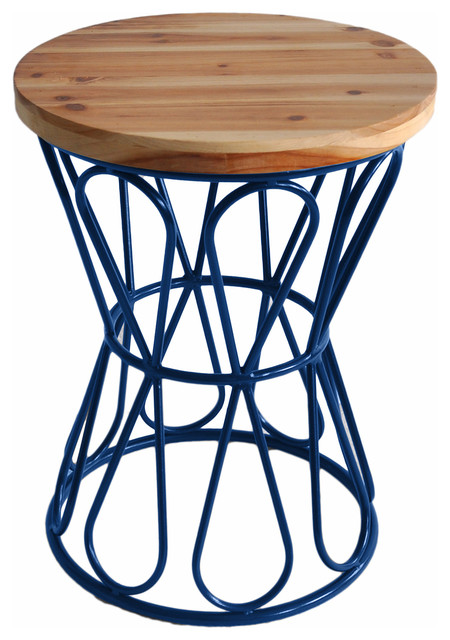 Drum Stool With Metal Base Farmhouse Accent And Garden