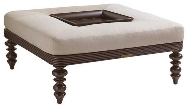 Tommy Bahama Black Sands Patio Coffee Table Ottoman, Taupe.