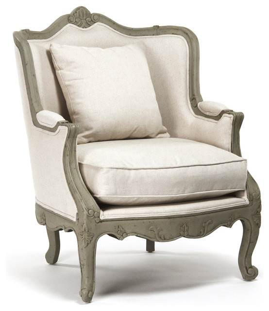 Beau Adele French Country Rustic Off White Cotton Arm Accent Chair