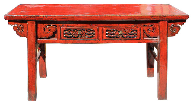 Consigned Chinese Distressed Red 2 Drawers Side Pedestal Console Table