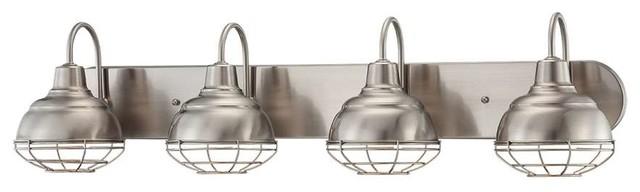 Millennium Neo-Industrial 4-Light Vanity, Satin Nickel.