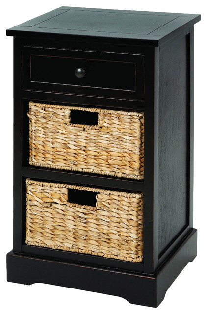 urban designs malibu 3drawer night stand with wicker baskets espresso