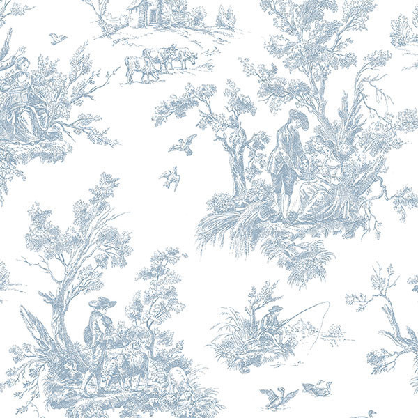 - Light Blue Toile, AB27656 Wallpaper - View In Your Room!