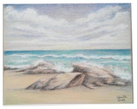 Drawing Ocean Sea Rocks Beach Waves Seascape 11 Quot X14