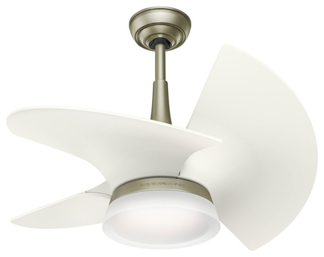 "Casablanca 30"" Orchid Outdoor, Led White Ceiling Fan, Light & Wall Control."