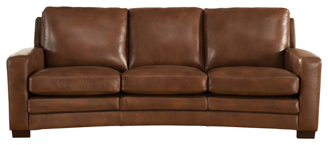 Joanna Leather Craft Sofa, Brown.