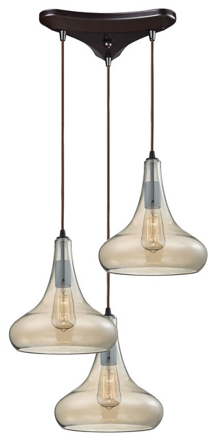 Orbital 3-Light Pendant, Oil Rubbed Bronze.