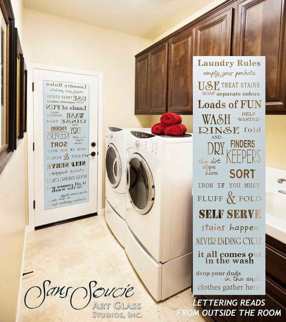 Delicieux Laundry Room Door   Sandblast Frosted Glass   LAUNDRY RULES Eclectic Laundry  Room