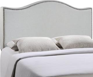 Curl Full Nailhead Upholstered Headboard, Gray